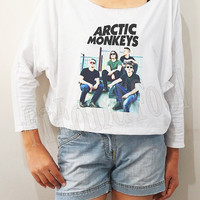 Arctic Monkeys Shirts Alex Turner Shirts Rock Shirts Bat Sleeve Shirts Crop Shirts Long Sleeve Oversized Sweatshirt Women Shirts - FREE SIZE