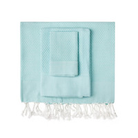 Aqua Honeycomb Turkish Peshtemal Towel