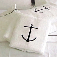 Nautical towels, luxury cotton 600gr Ancor embroidery, 2pc unique face towels,