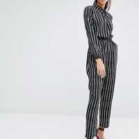 Parallel Lines Collared Jumpsuit With Stretch Waist In Stripe