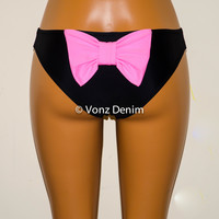 Black Bikini Bow Bottoms, Cheeky Hips Bikini Bottoms, Fully Lined Swim Suit Bottom