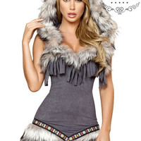 New Christmas Halloween costume fur costume party dress uniform (one Size: Bust 90CM, Waist 74CM) (Size: M) = 1932080772