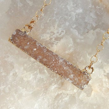 Champagne Nude Druzy Bar Gold Necklace Rectangle Horizontal Quartz Drusy - Free Shipping OOAK Jewelry