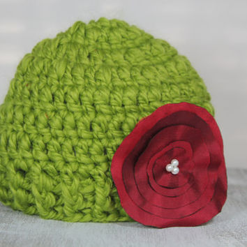 First Christmas newborn crochet beanie with silk handmade flower, holiday, dressy, green and red, 0-3 months