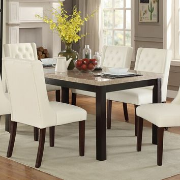 7 pc Marleen collection espresso finish wood marble top dining table set with padded seats