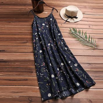 Summer Women Sexy O-neck Spaghetti Straps Casual Dress Boho Floral Printed Beach Loose Vestido Party Sundress Plus Size