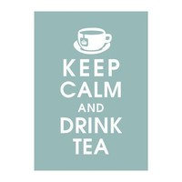 Keep Calm and Drink Tea Silver Sage featured 5x7 by KeepCalmShop