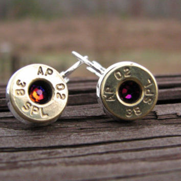 Bullet Earrings- Leverback Earrings- Birthstone Earrings- Ammo- Bullet Jewelry- Dangle Earrings- Drop Earrings- 38 Special- Eco Friendly