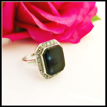 Onyx sterling  Marcasite ring size 6 Black onyx sterling silver