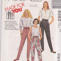 Sewing pattern for stretch knit pull on pants with tapered legs and elastic waistline misses size 14 McCall's 6062 UNCUT