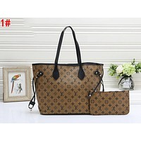 Louis Vuitton LV Fashionable Women Shopping Bag Leather Tote Handbag Shoulder Bag Purse Wallet Set Two-Piece 1#