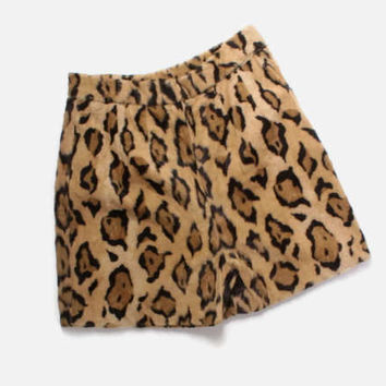 Vintage 60s LEOPARD SHORTS / 1960s High Waisted Faux Fur Animal Print Rockabilly Pin-Up Shorts S