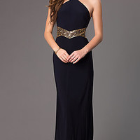 Betsy & Adam Sleeveless Navy Blue Long Prom Dress