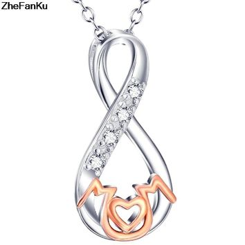 Moms Jewelry Birthday Gift For Mother Heart Charm Pendant Mom Daughter Son Child Family Love Cubic Chain Necklace