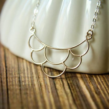 Openwork Scalloped Bib Necklace in Sterling Silver