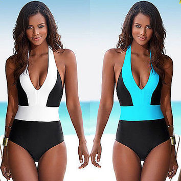 2017 Sexy One Piece Swimsuit Bandage For Women Solid White and Blue One shoulder Cut Out Monokini Swimwear Bathing Suit bodysuit