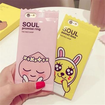 Cute Muzi Apeach Case For Apple iPhone 6 6s 7 8 plus 3D Candy Korean Cartoon Phone Cases Cover for iPhone 6 Silicone Case   C95