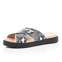 River Island Womens Black snake print cross strap sliders