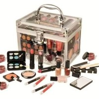 SHANY Carry All Trunk Professional Makeup Kit - Eyeshadow,Pedicure,manicure With Black Trim Clear Case
