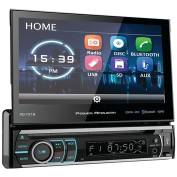 "Power Acoustik 7"" Incite Single-din In-dash Motorized Touchscreen Lcd Dvd Receiver With Detachable Face & Bluetooth"