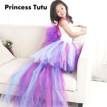 Colorful New Arrival Girl Lovely Unicorn Cosplay Ribbon tutu dress Knee Length Child Little Horse Cos Dresses For Evening Party