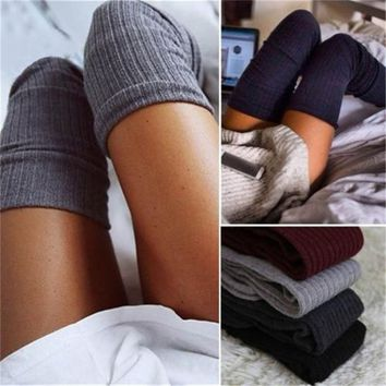 Women Winter Newly Design Warm Solid Leg Warmers Knitting High Over Knee Socks AUTUMN Ruffle Trim Leg Warmers Boot Topper Socks