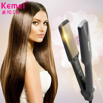 NEW Kemei Brand Auto Fast Flat Comb Hair Iron Straightener Brush Constant Temperature Electric Hair Comb Escova Alisadora KM-329