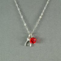 Sterling Silver Wishbone Charm and SWAROVSKI Crystal Bead Necklace, 925 Sterling Silver Chain, Beautiful Necklace
