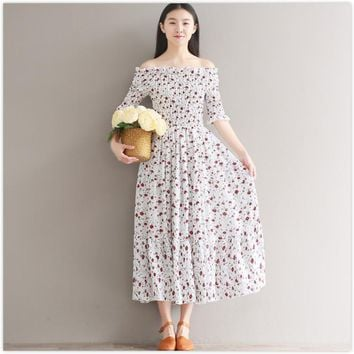japanese mori girl style cute dress 2017 new summer vestidos women floral print long dresses black/white small flowers clothing
