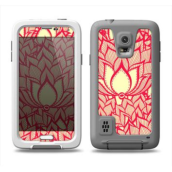 The Sketched Red and Yellow Flowers Samsung Galaxy S5 LifeProof Fre Case Skin Set