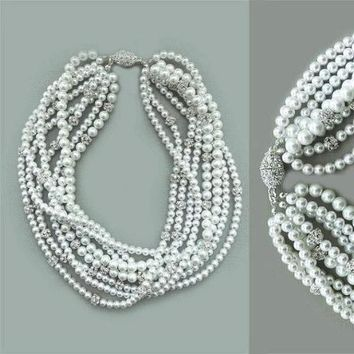 Swarovski White Pearl Bridal Chunky Necklace with Silver Crystal Balls