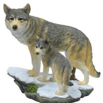 Wolf and Cub on Cliff Statue - 8393