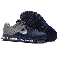 NIKE AIR MAX Fashion Sport Casual Shoes Sneakers Navy blue-gray hook H-CSXY