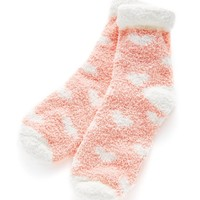 Roll Up Trim Heart Pattern Socks
