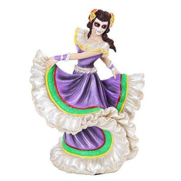 Skeleton Dancer Purple Folklorico Dress Statue Day of the Dead 8H