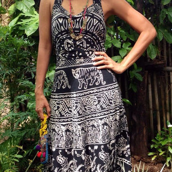 Vintage Black and White Tribal Overall Maxi Dress