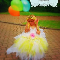 Yellow Fairy Princess Tutu Dress, Flower Girl Dress, Birthday Dress, Fairy Princess,