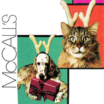 Costume Pattern for Dogs and Cats Uncut McCall's 7402 Cat or Dog Antlers, Angel Dog, Wings and Halo, Dress Up Dog Vintage Sewing Patterns