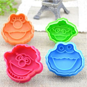 Spring type pressing cutting Sesame Street ELMO COOKIE MONSTER ERNIE OSCAR THE GROUCH mini Plastic cookie cutters free shipping