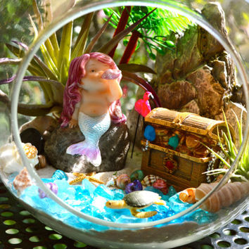 "Mermaid Terrarium Kit ~ 7"" Glass Air Plant Terrarium ~ 2 Air Plants ~ Treasure Chest ~ Mermaid on Rock ~ Flamingo and Sea Turtle ~ Gift Idea"