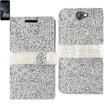 Reiko Bling Diamond Flip Case Htc One A9 Silver