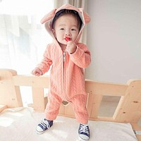 New Baby Boy Winter Clothes Thickening Baby Rompers Cartoon Baby Girl Winter Coverall Hooded Baby Clothing