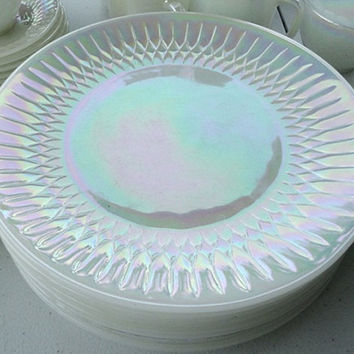 Federal Glass Moon Glow Iridescent dinner plates set 8