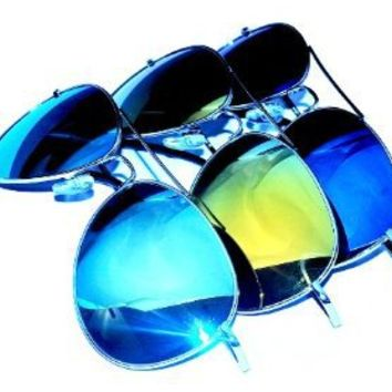 Aviator Sunglasses UV400 with Colored Mirror lens (3-Pack)