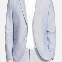 Men's Topman Blue Oxford Skinny Fit Suit Jacket,