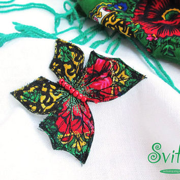 Folk Butterfly Brooch | Folk Art | National Fashion | Free Hand Machine Embroidery | Pin | Idea for Gift