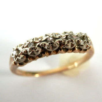 c.1909 14K Gold and Diamond Wedding Ring