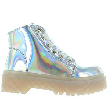 YRU Slayr - Silver Hologram Lace-Up Combat Boot