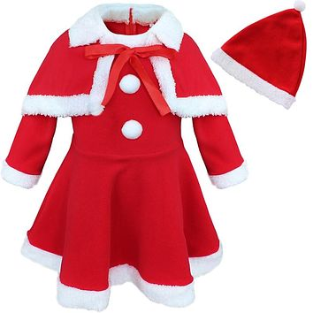 Red Girls Baby Infant Christmas Santa Claus Fleece Trim Dress with Hat Cloak Cape Princess Costume Party Outfit Xmas Clothes