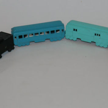 50s 5 train set cast iorn antique baby boy nursery boys room home decor collectable gift shower black coral orange blue teal mint green deco